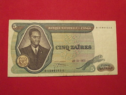 Congo -  5 Zaires 1971 Pick 14 Sign.2 TB+ / F+ ! (CLN115) - Congo
