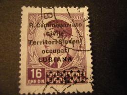 LUBIANA - 1941, COMMISSARIATO  Soprast., Sass. N. 31,  D. 16, Usato  TTB, OCCASIONE - 9. Besetzung 2. WK (Italien)