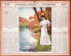 Calendrier Almanach Année 1909 Sport Pêche à La Ligne Pêcheuse Femme Pêcheur Département 31 Illustrateur - Calendars