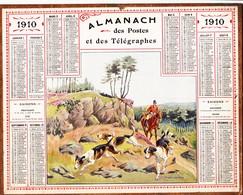 Calendrier Almanach Année 1910 Sport Chasse à Courre Chasseur Chien De Chasse Département 31 Illustrateur - Calendriers