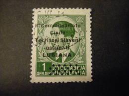 LUBIANA - 1941, COMMISSARIATO  Soprast., Sass. N. 20,  D. 1  Usato,  TTB, OCCASIONE - 9. Besetzung 2. WK (Italien)