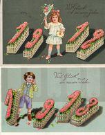 Année Date Millesime 1912 Et 1913, Fille Et Garçon Jardinière - Nouvel An