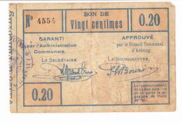 BON DE 20C COMMUNE D'ANTOING//N°4554/14-18 - [ 3] German Occupation Of Belgium