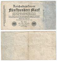 Alemania - Germany 500 Mark 1922 Pick 74.b Ref 54-4 - [ 3] 1918-1933 : República De Weimar
