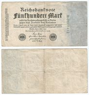 Alemania - Germany 500 Mark 1922 Pick 74.b Ref 54-4 - [ 3] 1918-1933 : Repubblica  Di Weimar