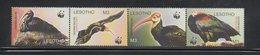 Lesotho WWF Southern Bald Ibis Birds MNH Strip Set Scott 1934-1937 - W.W.F.