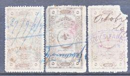 TURKEY  OTTOMAN  EMPIRE  REVENUE  175 X 3  ONE FAULT   (o) - 1858-1921 Empire Ottoman
