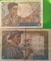 5  Francs Français Q25 A.22/7/1943.A Berger / Agenaise Fonds Fleuri - Pick93 - 1871-1952 Anciens Francs Circulés Au XXème