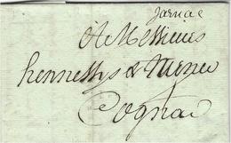 1792- Lettre  De Jarnac  Manuscrit  ( Charente )    Pour Cognac - Marcophilie (Lettres)