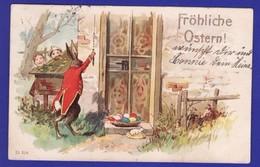 Paques Lapin Farceur Carte Allemande 1900 ( 1 TRES TRES LEGERE PETITE CORNURE SINON Tres Tres Bon ETAT ) Zz250) - Easter