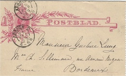 1899- POSTBLAD 12 1/2 Cent From ARNHEM To Bordeaux ( France ) - Periode 1891-1948 (Wilhelmina)