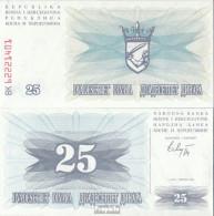 Bosnien-Herzegowina Pick-Nr: 11a Bankfrisch 1992 25 Dinara - Bosnien-Herzegowina