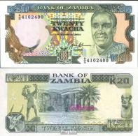 Sambia Pick-Nr: 32b Bankfrisch 1989 20 Kwacha Adler - Sambia