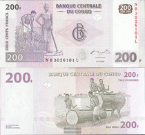 Kongo (Kinshasa) Pick-number: 99a Uncirculated 2007 200 Francs - Unclassified