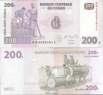 Kongo (Kinshasa) Pick-Nr: 99a Bankfrisch 2007 200 Francs - Congo