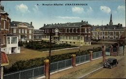 Cp Hazebrouck Nord, Hospice Hopital, Straßenpartie Mit Blick Auf Das Krankenhaus, Automobil - France