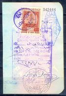R7- Kingdom Of Saudi Arabia Fiscal Revenue 100 Riyals Stamp On Passport Page Of Pakistan. (Page Is Torn-off & Has Been J - Saudi Arabia