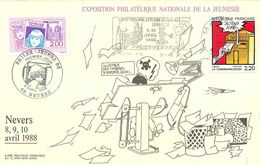 NEVERS (58 - NIEVRE) - EXPOSITION PHILATELIQUE NATIONALE DE LA JEUNESSE - AVRIL 1988 - BEAUX CACHETS ET TIMBRES SUR CP - Marcofilie (Brieven)
