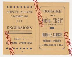 Au Plus Rapide Horaire Autobus Tissot Frères Toulon Le Beausset La Cadière D'Azur Décembre 1932 Excellent état - Europe
