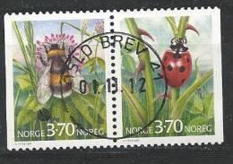 Norvège 1997 Paire N°1192a Oblitérée Insectes Bourdon Et Coccinelle - Gebraucht