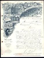 FACTURE OU LETTRE DU XIX° S. DE PARIS- 1895-  PAPETERIE- LITHOGRAPHIE- GRAVURE- TRES BELLE ILLUSTRATION- 2 SCANS- - Imprimerie & Papeterie