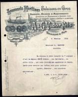 FACTURE OU LETTRE ANCIENNE DE BOULOGE-S-MER- 1912-  SALAISONS- MORUES- HARENGS- BELLE ILLUSTRATION CHALUTIER- 2 SCANS- - Alimentare