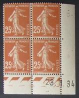 Semeuse 25 C. Brun  En Bloc De 4 Coin Daté - 1906-38 Semeuse Camée