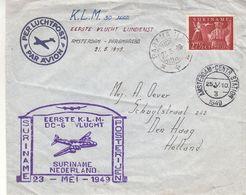Pays Bas - Suriname - Lettre De 1949 ° - Oblit Paramaribo - 1er Vol Suriname Pays Bas - Cachet Amsterdam Centr Station - Surinam ... - 1975