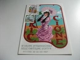 III° SALONE INTERNAZIONALE DELLA CARTOLINA D'EPOCA DONNA CON OMBRELLO 1987 ILLUSTRATORE CUMO  RICCIONE - Manifestazioni
