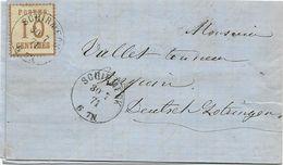 LETTRE 1871 AVEC TIMBRE D'OCCUPATION A 10 CT ET CACHET DE SCHIRMECK - Marcophilie (Lettres)