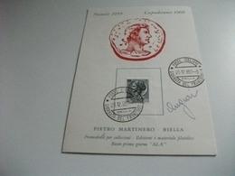 NATALE 1959 PIETRO MARTINERO BIELLA MATERIALE FILATELICO  PIEGA MONETA - Monete (rappresentazioni)