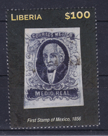 Liberia 2015 (B19) Stamp On Stamp First Stamp Of Mexico MNH ** - Liberia