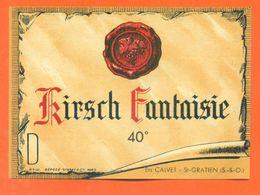 étiquette Ancienne Kirsch Fantaisie Ets Calvet à Saint Gratien - 40° - 70 Cl - Autres