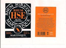 Etiquette   RHUM HSE  SAINT-ETIENNE Agricole 55° -  Gros Morne - MARTINIQUE - Décollée - - Rhum