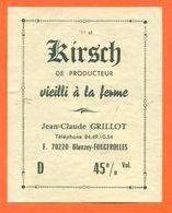 étiquette De Kirsch Vieilli à La Ferme Jean Claude Grillot à Blanzey Fougerolles - 45° - 70 Cl - Etiquettes