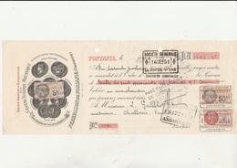 LETTRE DE CHANGE TIMBREE - 1935 - GRANDE TUILERIE MECANIQUE -- PERRUSSON DE FONTAFIE  ( CHARENTE ) - Cambiali