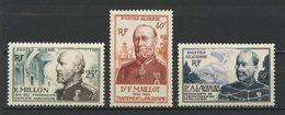 ALGERIE 1953 N° 304/306 ** Neufs  MNH Superbes Cote 18,60 € Corps De Santé Militaire Médecine Medicine Millon Mail - Nuevos