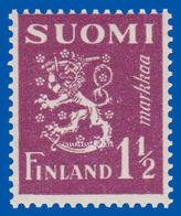 FINLAND 1930-1952  LION TYPE DEFINITIVE  1½  MARK VIOLET   FACIT 156  U.M. N.S.C. - Finnland