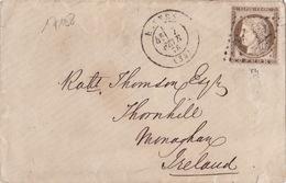 17198# CERES N° 56 SEUL LETTRE Obl GC RENNES 1876 ILLE ET VILAINE Pour MONAGHAN IRLANDE - 1849-1876: Classic Period