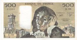 FRANCE BILLET DE 500 FRANCS PASCAL DE 1984 ALPHABET M.199 - 1962-1997 ''Francs''