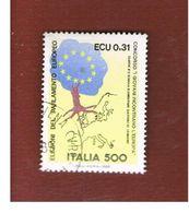 ITALIA REPUBBLICA  - SASS. 1868.    -      1989     ELEZINI EUROPEE   -      USATO - 6. 1946-.. Repubblica