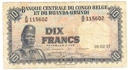 Congo Belge / Belgian Congo / 10 Fr /  Lot 03 / 01-02-1957 - [ 5] Belgian Congo