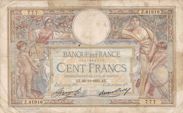 FRANCE BILLET DE 100 FRANCS LUC OLIVIER MERSON DE 1933 ALPHABET / Z.411916 - 1871-1952 Gedurende De XXste In Omloop