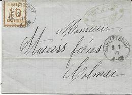 LETTRE 1871 AVEC TIMBRE D'OCCUPATION A 10 CT BURELAGE RENVERSE ET CACHET DE SCHLETTSTADT - Marcophilie (Lettres)