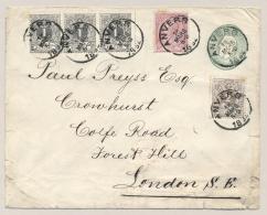 België - 1892 - 5 Zegels Op Preprinted Cover Van Anvers Naar London / UK - 1884-1891 Leopold II