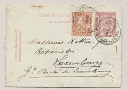 België - 1894 - 10c Carte-Lettre Met Bijfrankering Van Tirlemont Naar Luxembourg - Entiers Postaux
