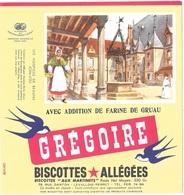 Buvard  Marque  Alimentaire  Biscottes  GREGOIRE  LES  HOSPICES  DE  BEAUNE  ( 21 _ Côte _ D' Or ) - Collections, Lots & Series