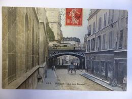 PARIS RUE BROCA VUE CHARRETTE METRO COMMERCES COLORISEE ECRITE 1907 TIMBREE - District 13