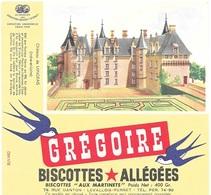 Buvard  Marque  Alimentaire  Biscottes  GREGOIRE  Château  De  LANGEAIS  ( 37 ) - Collections, Lots & Series