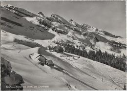 Berghaus Stöfeli Mit Skilift Und Churfirsten Im Winter En Hiver - Photoglob - SG St. Gall
